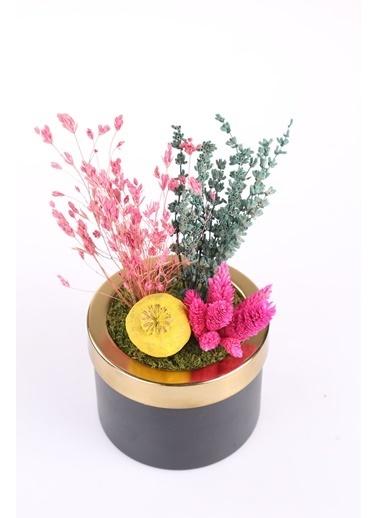 Kibrithane Çiçek Yapay Çiçek Metal Saksı Kuru Çiçek  Aranjman Kc00200778 Renkli
